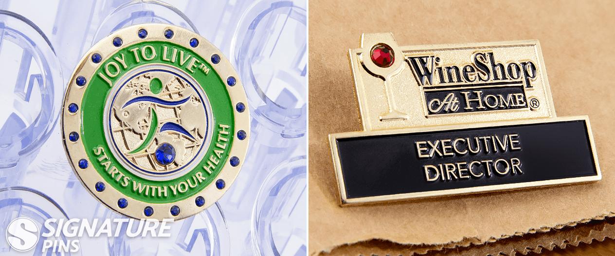 Lapel Pins with gemstones signature pins