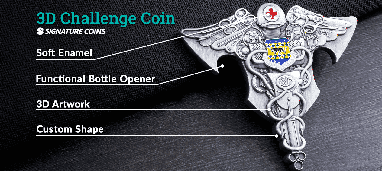 What is a 3D challenge coin with bottle opener by signature coins
