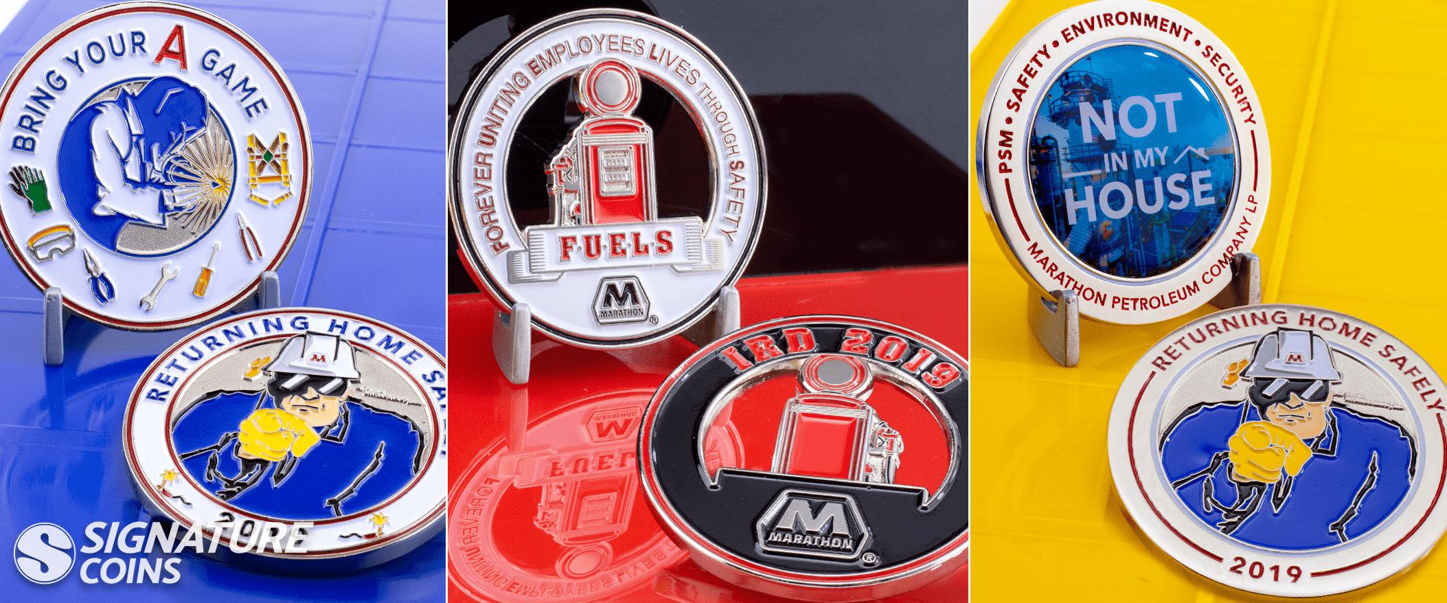 Safety Coins - Marathon - FUELS challenge coims by signature coins