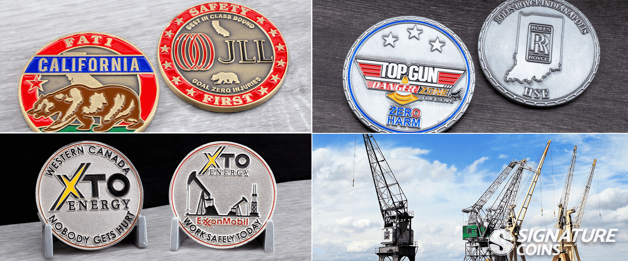 Safety Coins - Rolls Royce - Exxon Mobil - Fati challenge coims by signature coins