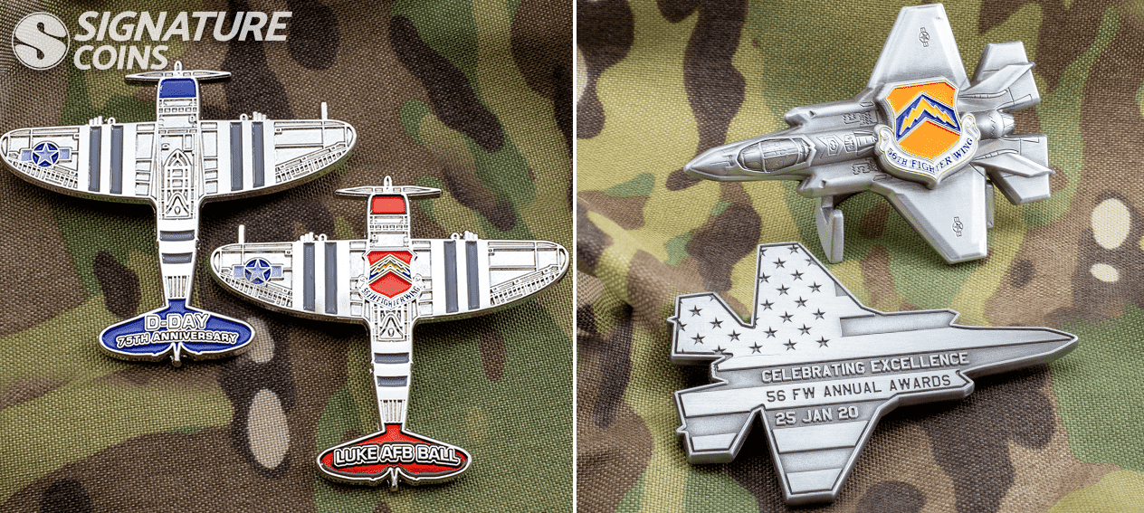 custom shape airforce coins by signature coins