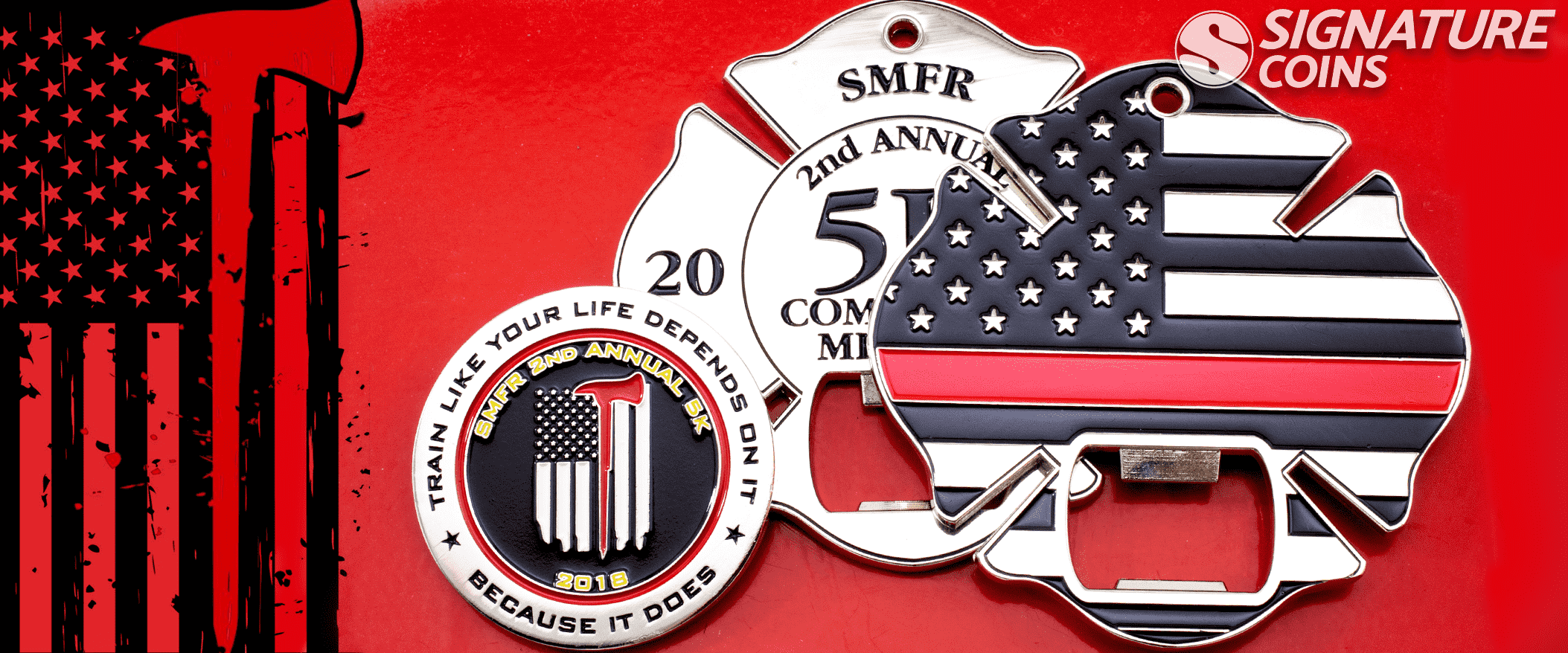 Thin red line firefighter challenge coin by signature coins