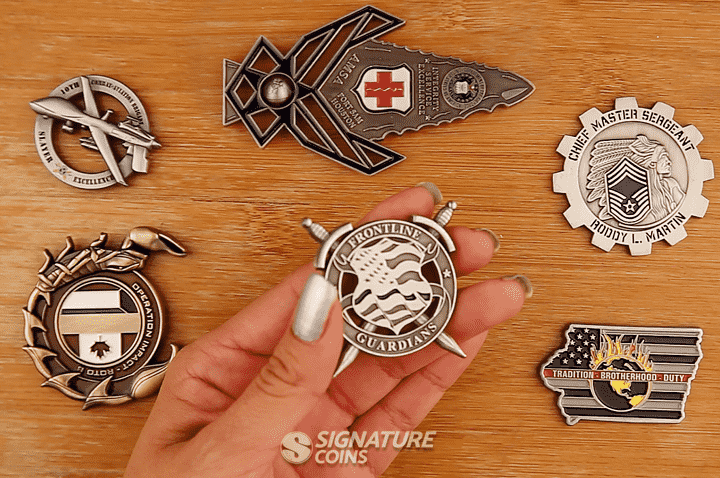 Cut to Shape Challenge Coins