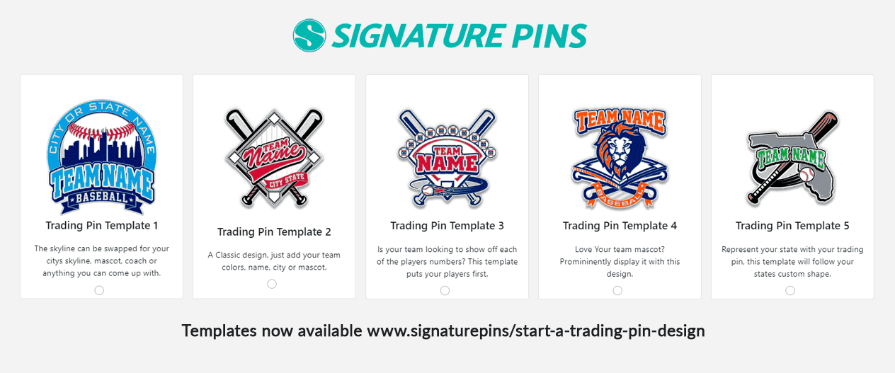 Ordering Baseball Trading Pins Templates