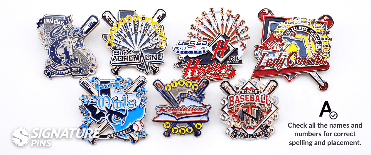 Baseball Trading Pins with team names and team numbers