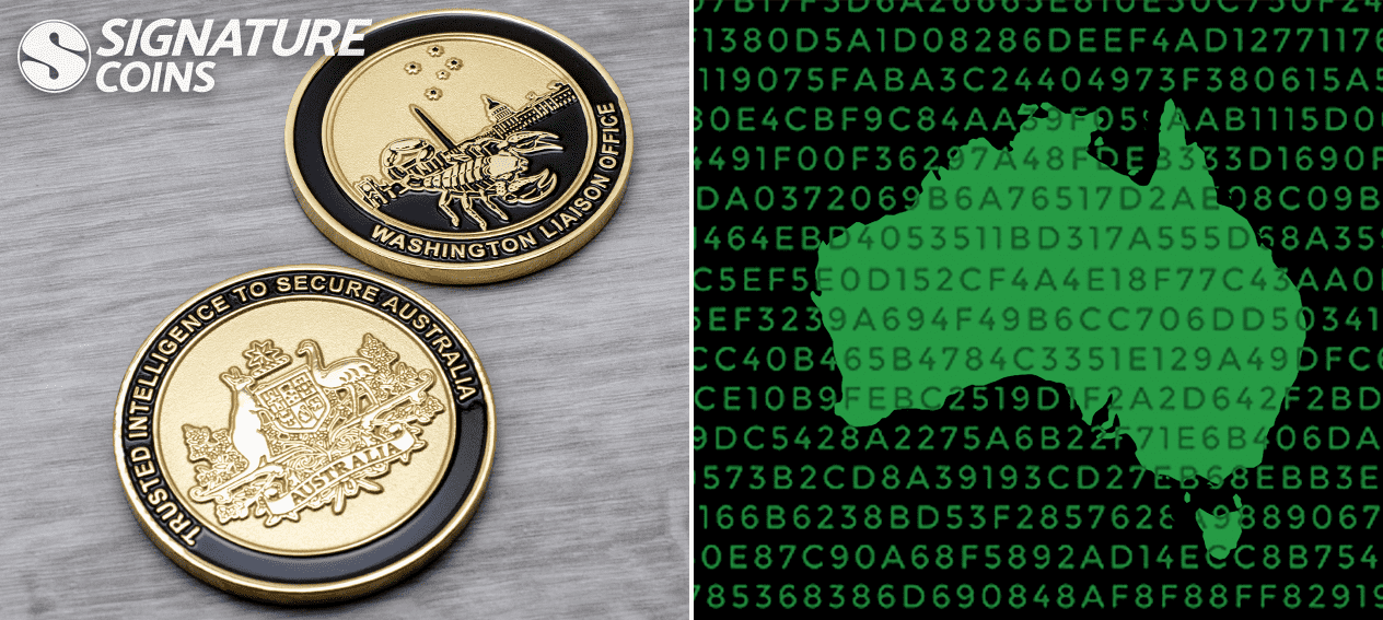 trusted intelligence to secure australia Challenge Coins