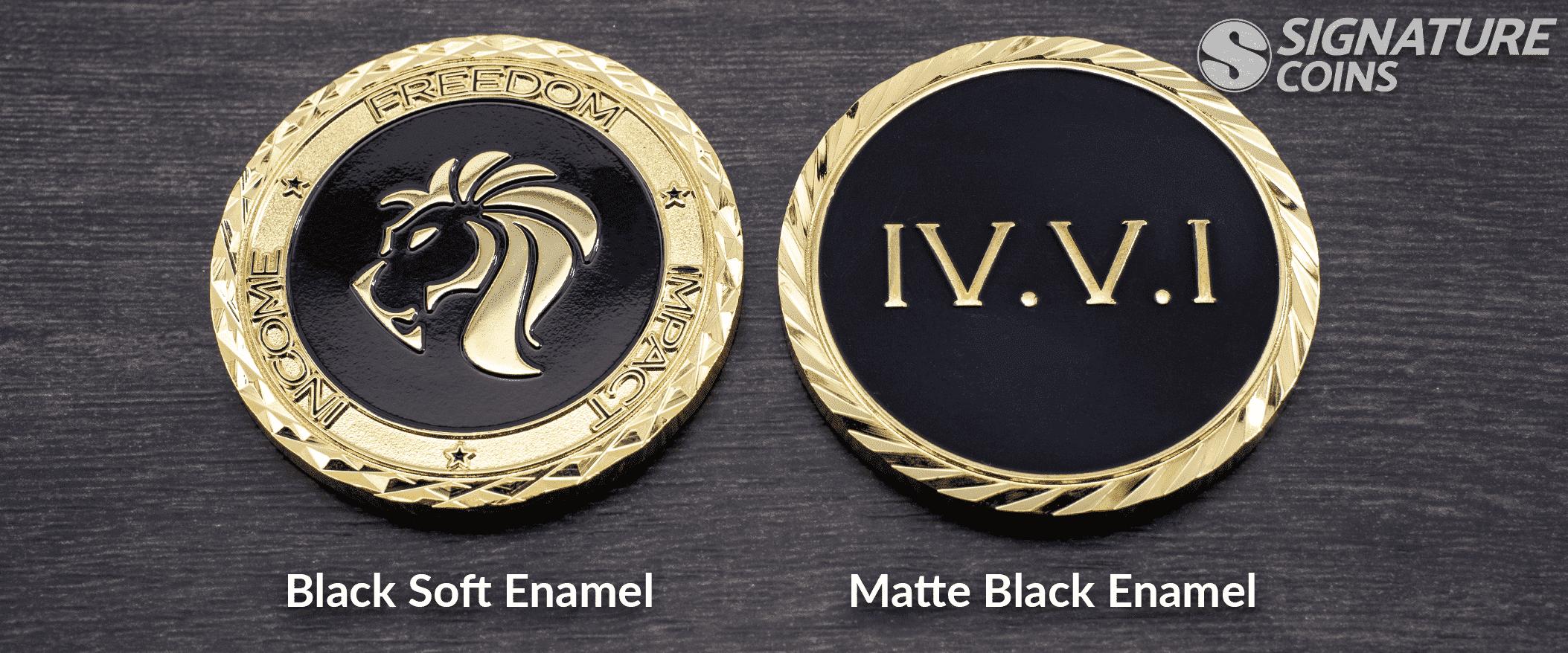 Soft Enamel vs Black Matte Enamel by Signature Coins
