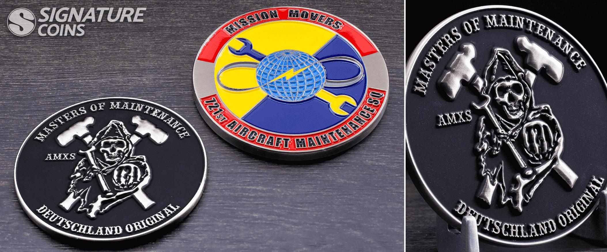 Masters of Maintenance Black Enamel challenge coin