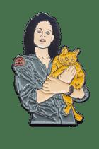Alien lapel pin w cat - black metal