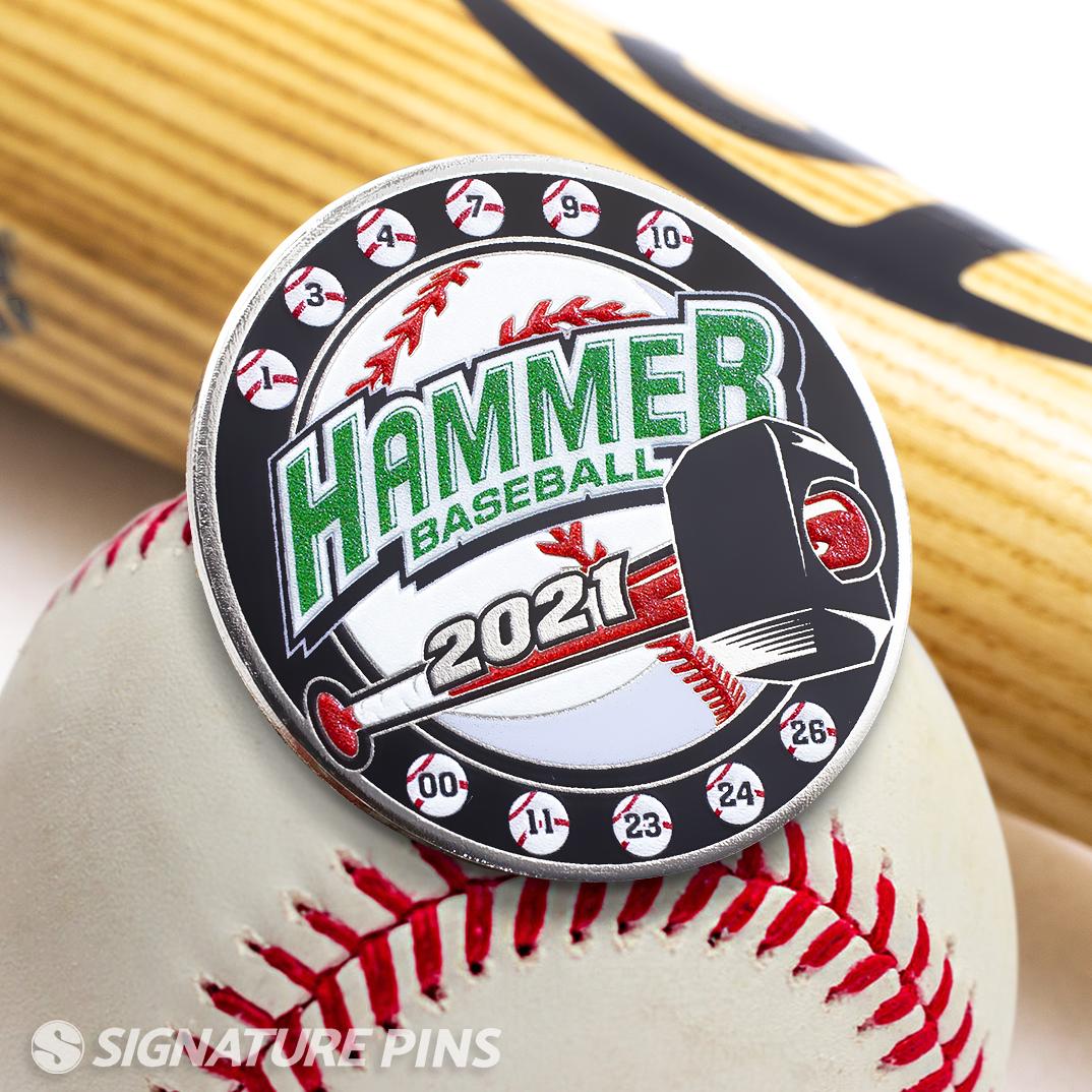 Hammer baseball lapel pin