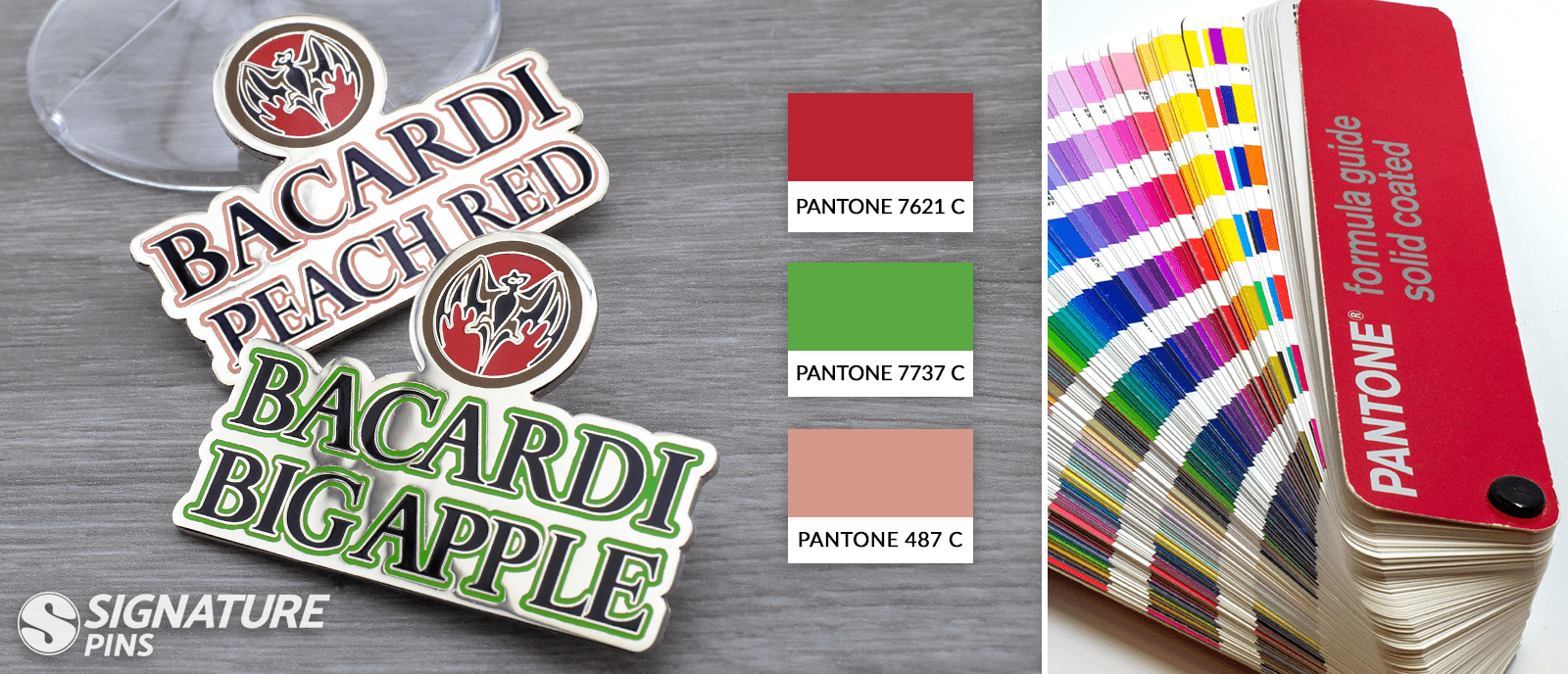 Pantone colors for lapel pins - bacardi rum pins by signature pins