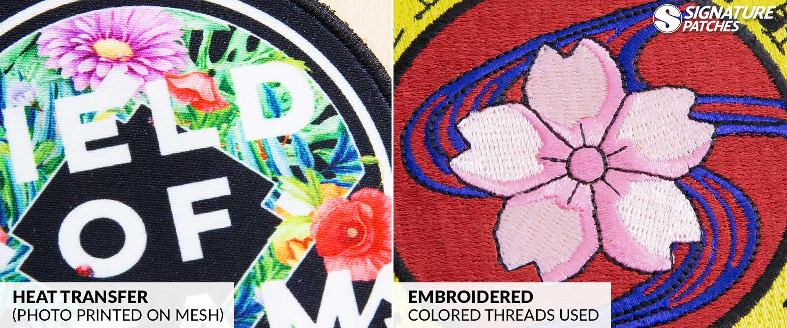 Signature Patches Heat Transfer Patches vs Embroidery