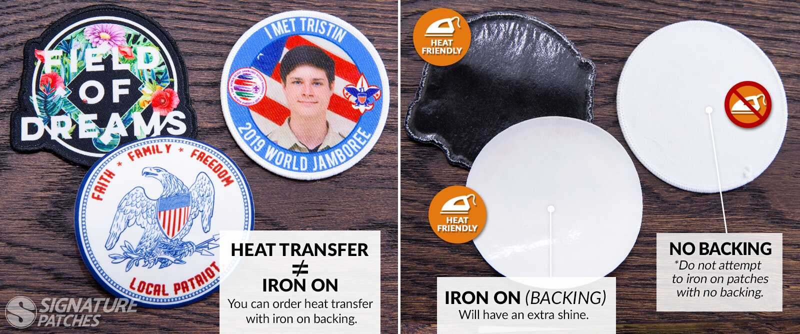 Signature Patches Heat Transfer Patches vs iron patch