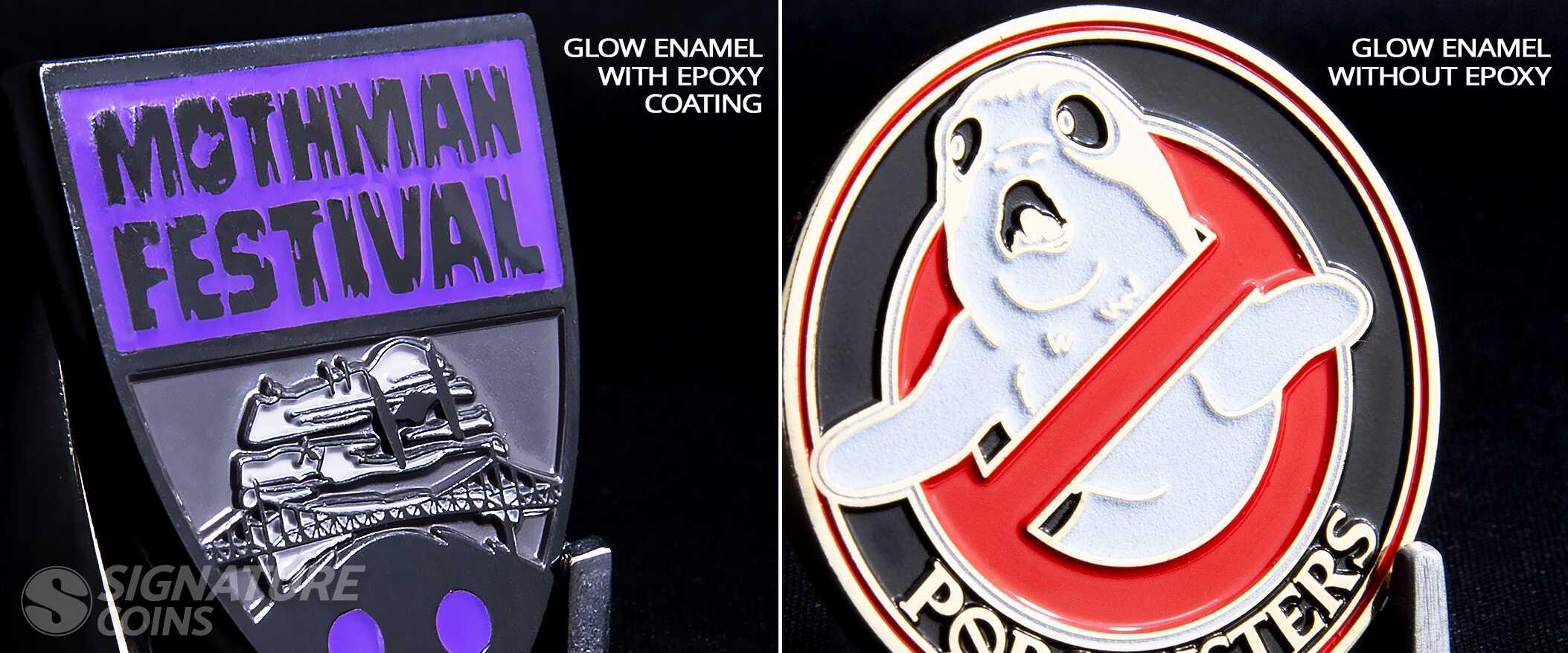 Challenge Coin Glow Enamel Comparison