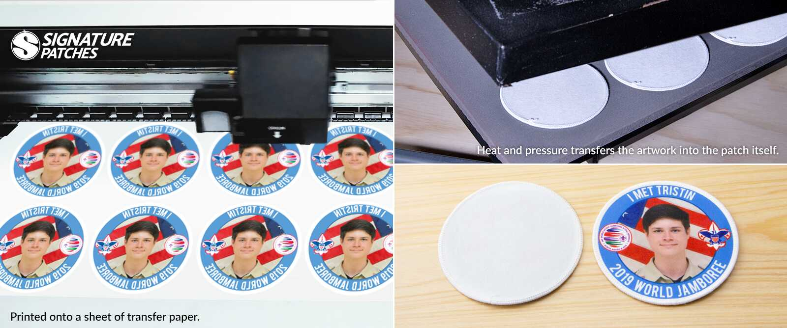 Signature Patches Heat Transfer Patches process