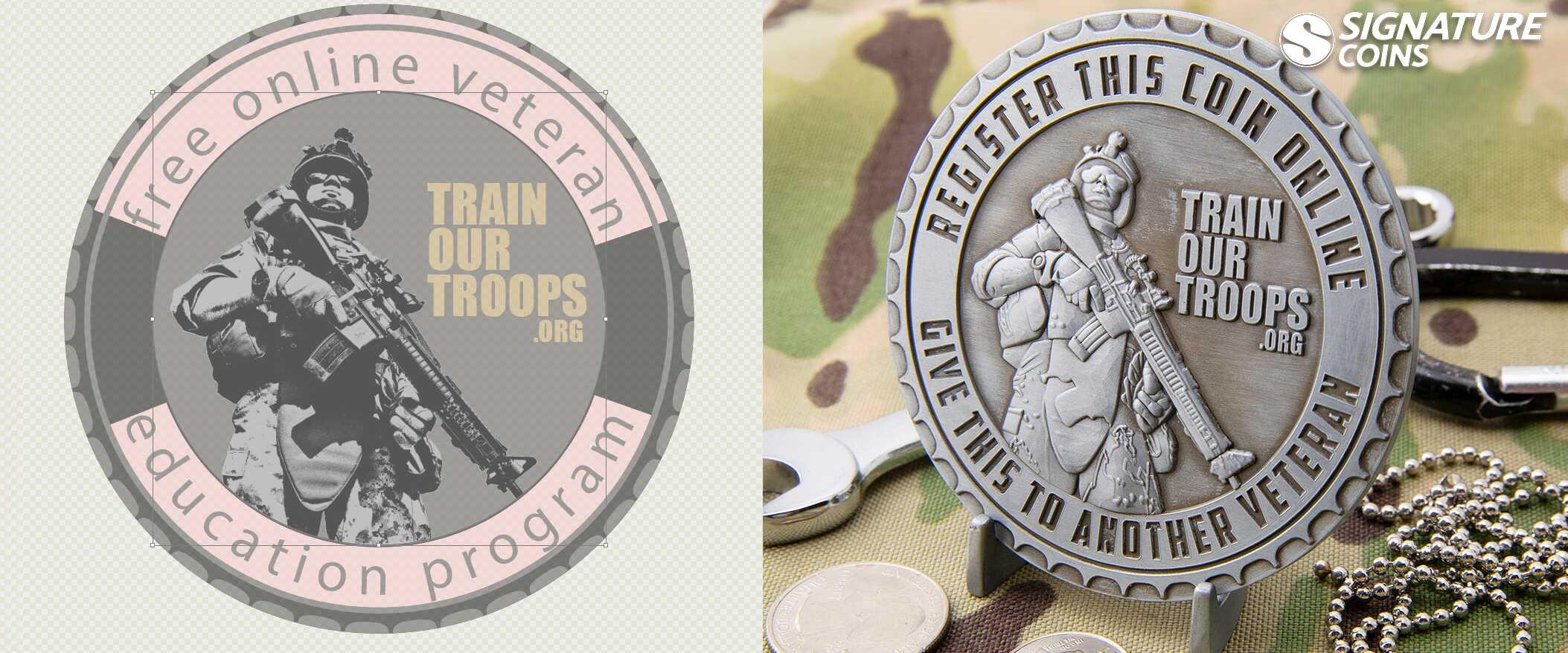 Train Our Troops veteran challengecoin spur edge antique silver