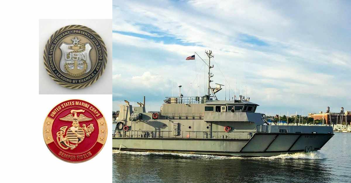us naval academy coin collage w usmc